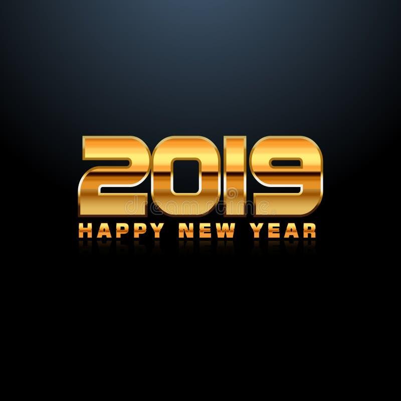 2019 sur le fond blanc, nouvelle année 2019, 3D illustration, bonne année 2019 illustration stock