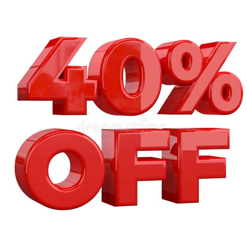 40% sur le fond blanc, offre spéciale, grande offre, vente quarante pour cent outre de bannière, de label et d'étiquette de publi illustration stock