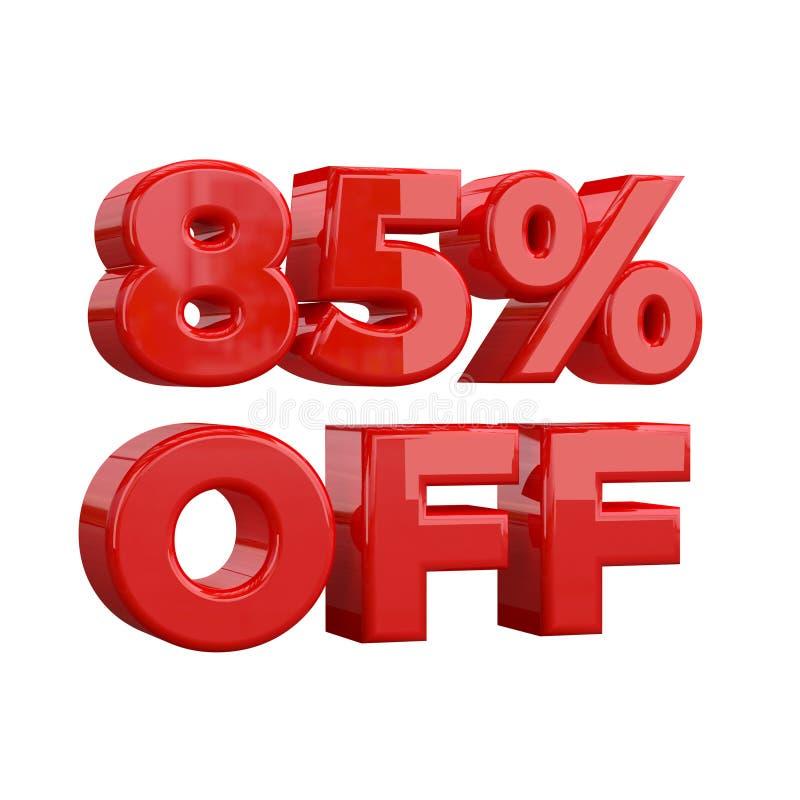 85% sur le fond blanc, offre spéciale, grande offre, vente quatre-vingt-cinq pour cent outre de bannière de publicité promotionne illustration de vecteur