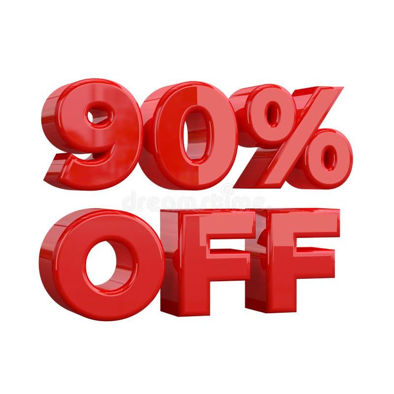 90% sur le fond blanc, offre spéciale, grande offre, vente quatre-vingt-dix pour cent outre de bannière, de label et d'étiquette  illustration stock