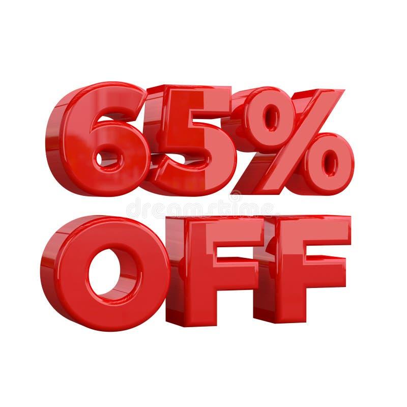 65% sur le fond blanc, offre spéciale, grande offre, vente soixante-cinq pour cent outre de bannière de publicité promotionnelle, illustration libre de droits