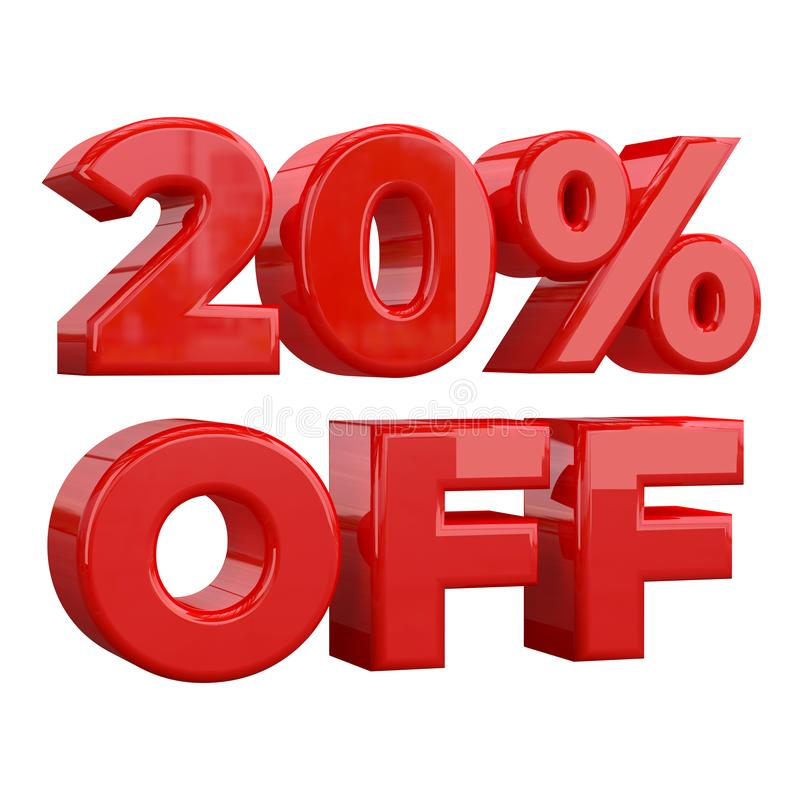 20% sur le fond blanc, offre spéciale, grande offre, vente vingt pour cent outre de bannière, de label et d'étiquette de publicit illustration stock