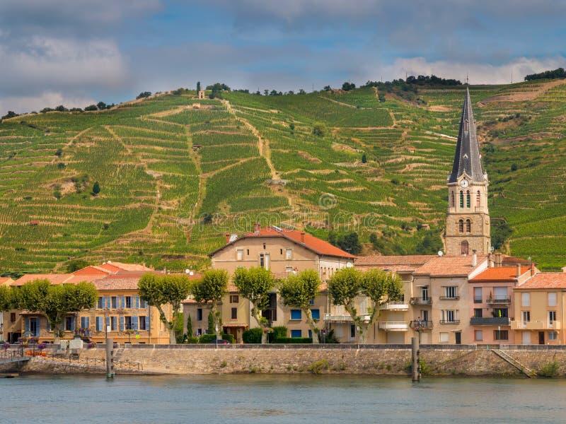 Sur le Rhône de Tournon photo stock