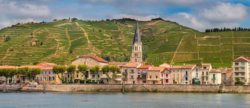 Sur le Rhône de Tournon de panorama photo stock
