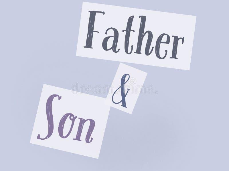 Sur les mots gris de père et de fils de fond de lite de la manière dénommante illustration de vecteur