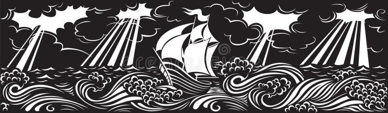 Sur les vagues illustration de vecteur