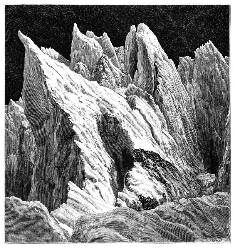 Sur Mer de Glace images stock