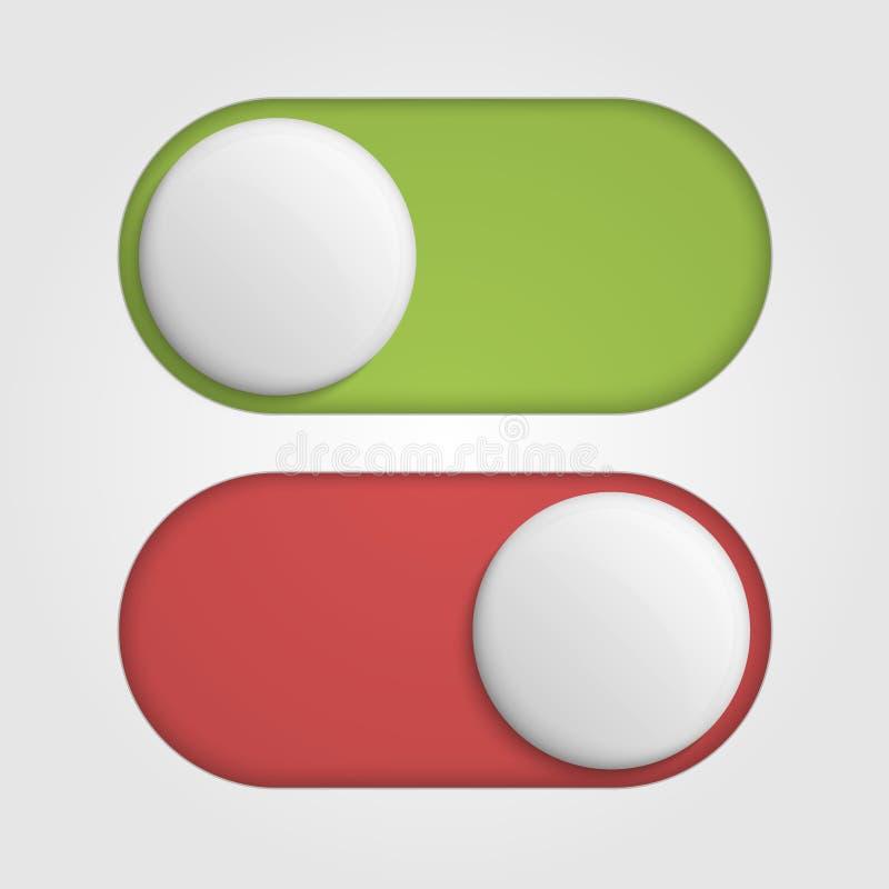 Sur outre de 3d commute des glisseurs avec la couleur rouge et verte illustration de vecteur