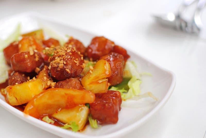 sur söt vegetarian för kinesisk pork arkivbild