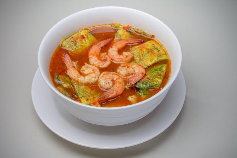 Sur soppa med räka- och akaciaPennata omelett fotografering för bildbyråer