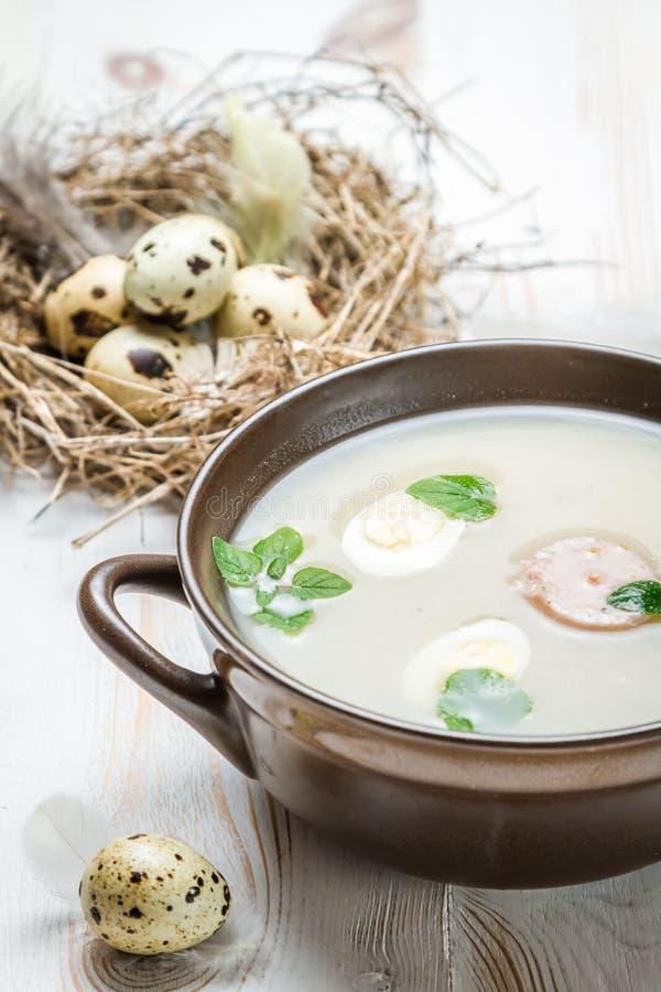 Sur soppa som kryddas med mejram royaltyfri bild