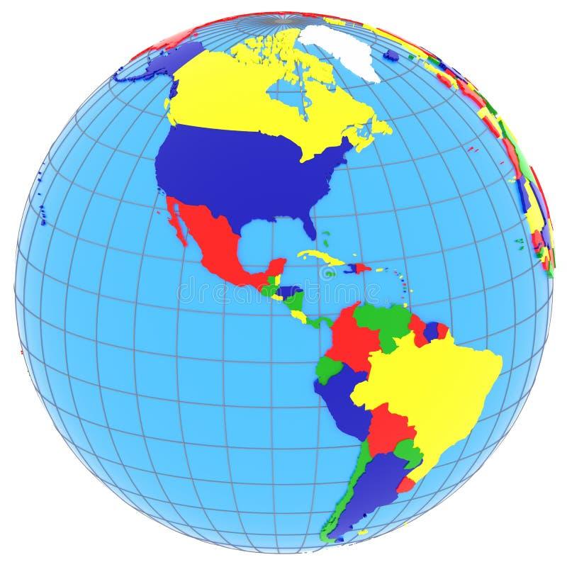 Sur y Norteamérica en el globo stock de ilustración