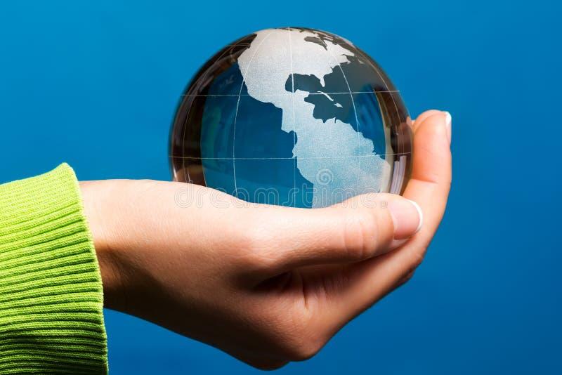 Sur y Norteamérica, globo azul de la tierra imagenes de archivo