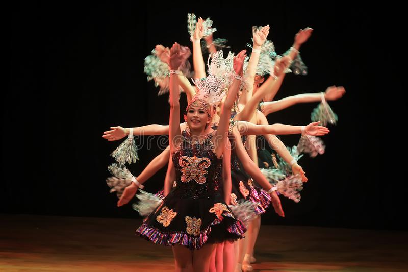Surabaya Indonesia July 29, 2016. Ballet dance performance in collaboration with Dayak tribe traditional dance stock photo