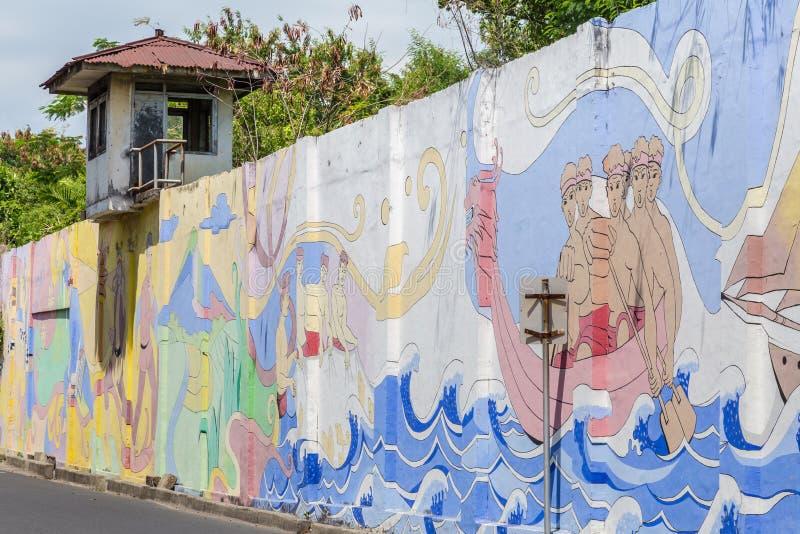 Prison wall Surabya, Indoensia. Surabaya, Indonesia - November, 04, 2017: Wall of an old prison calles Penjara Kalisosok in Surabaya. Java, Indonesia stock photography