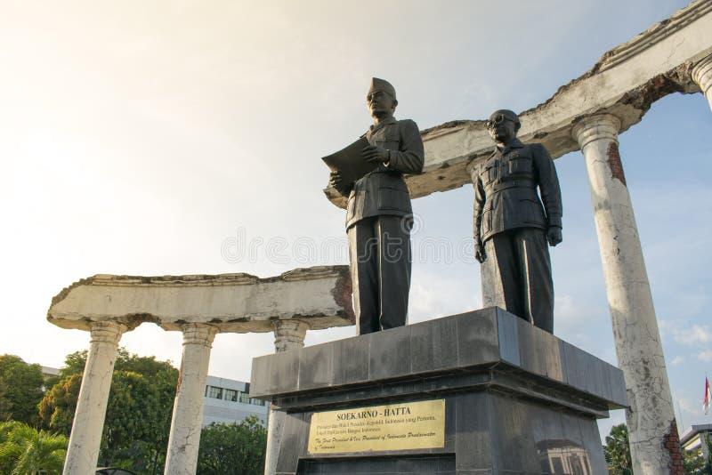 Surabaya Indonesien - Oktober 2018: monument till Sukarno, tidigare presidenten av Indonesien royaltyfri fotografi