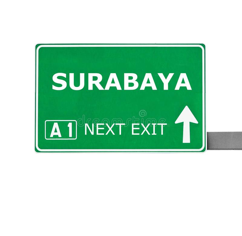 SURABAYA-Verkehrsschild lokalisiert auf Weiß lizenzfreie stockfotos