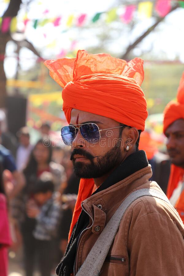 Surajkund, Faridabad, Haryana, India - February 14, 2020 - Indian Stage Performer / Artist  during the 34th Surajkund. International Crafts Mela. The festival stock photo