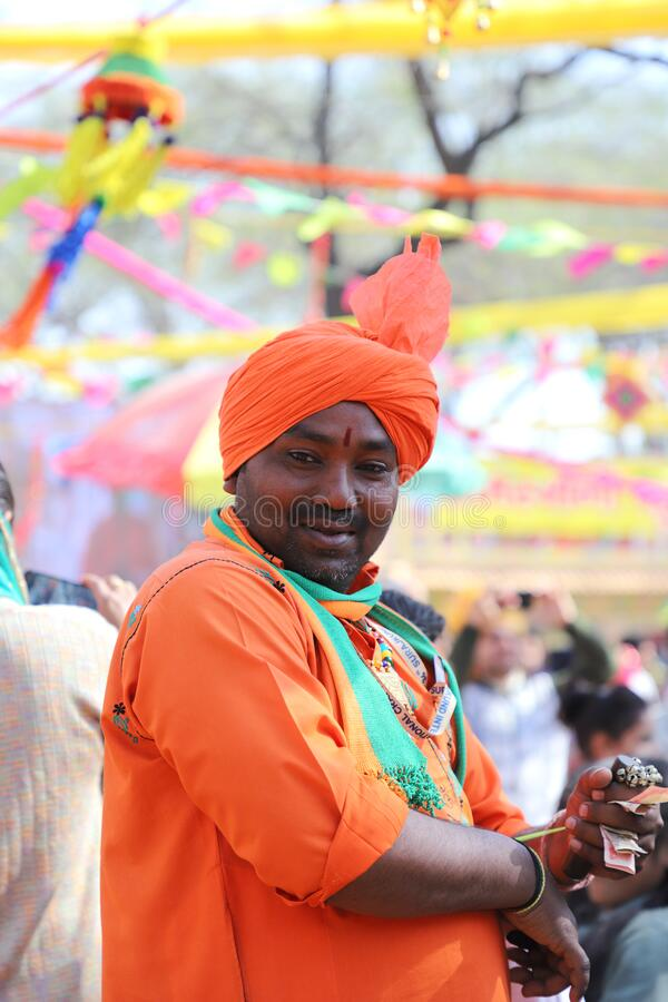 Surajkund, Faridabad, Haryana, India - February 14, 2020 - Indian Stage Performer / Artist  during the 34th Surajkund. International Crafts Mela. The festival stock photography