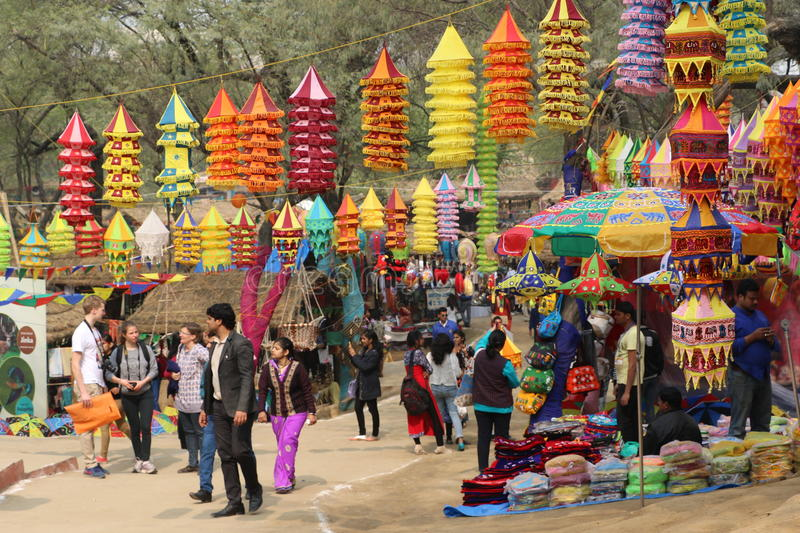 Surajkund, Faridabad, India. Visitors and local people are enjoying and shopping in Surajkund public craft fair in Surajkund, Faridabad, India stock images