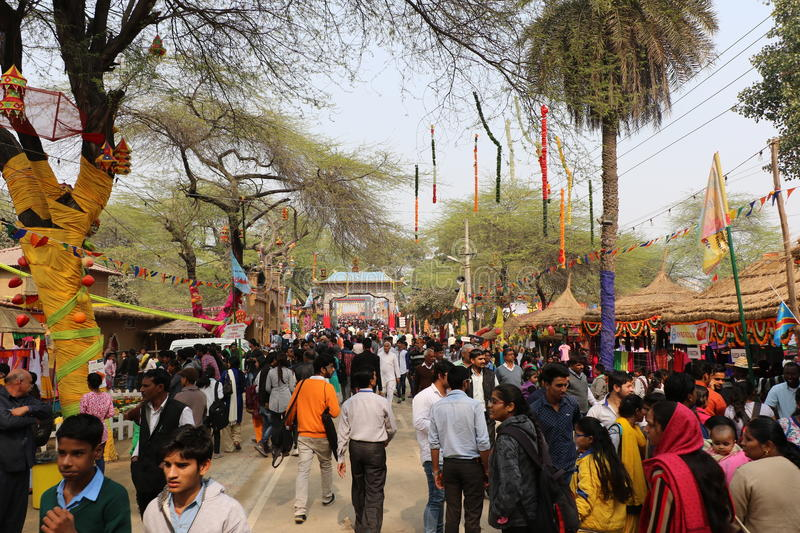 Surajkund, Faridabad, India. Visitors and local people are enjoying and shopping in Surajkund public craft fair in Surajkund, Faridabad, India stock photography