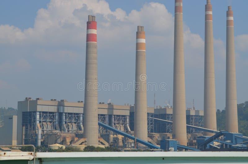 Suralaya power plant. Five chimney turbins in suralaya power plant merak cilegon indonesia for distribute java and bali stock image