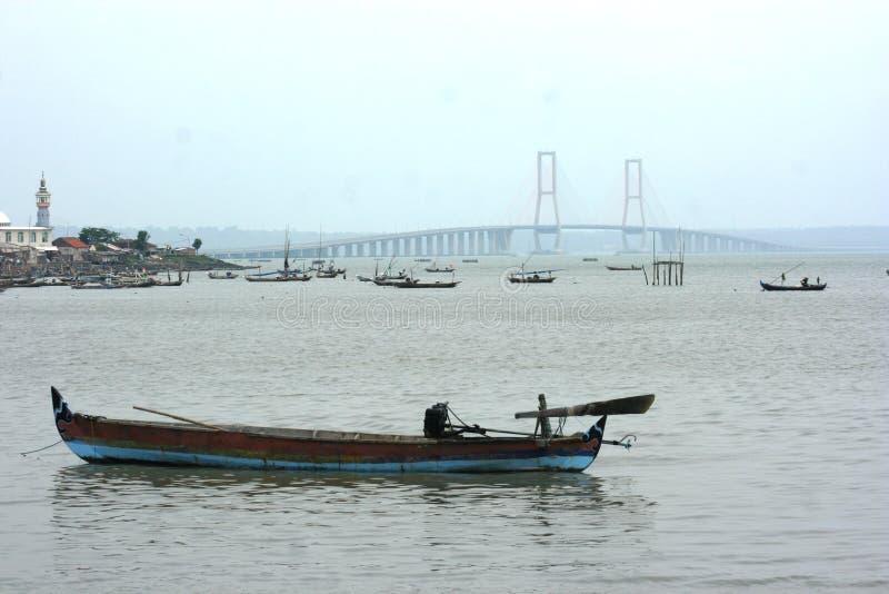 Suramadu bridge. That conecting Surabaya City (Java Island) and Madura island at surabaya, East j Java, Indonesia. Suramdu has a length of 5, 438 meter stock images