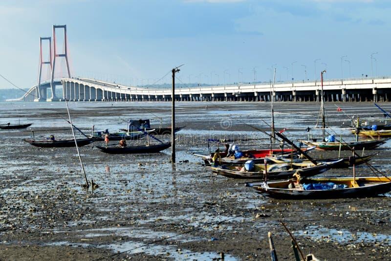 Suramadu bridge Surabaya Indonesia. Suramadu bridge in Surabya, Indonesia with water, dry royalty free stock photography