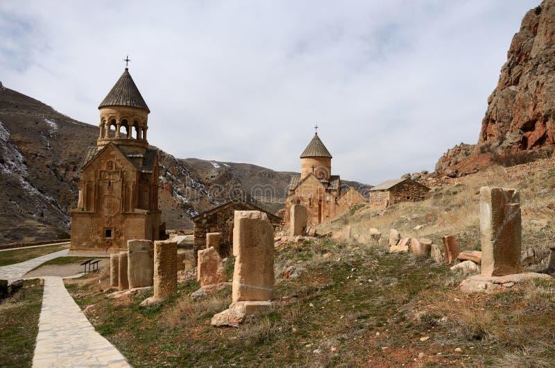 Surb Astvatsatsin en van Surb Karapet kerken, Noravank, Armenië stock foto's