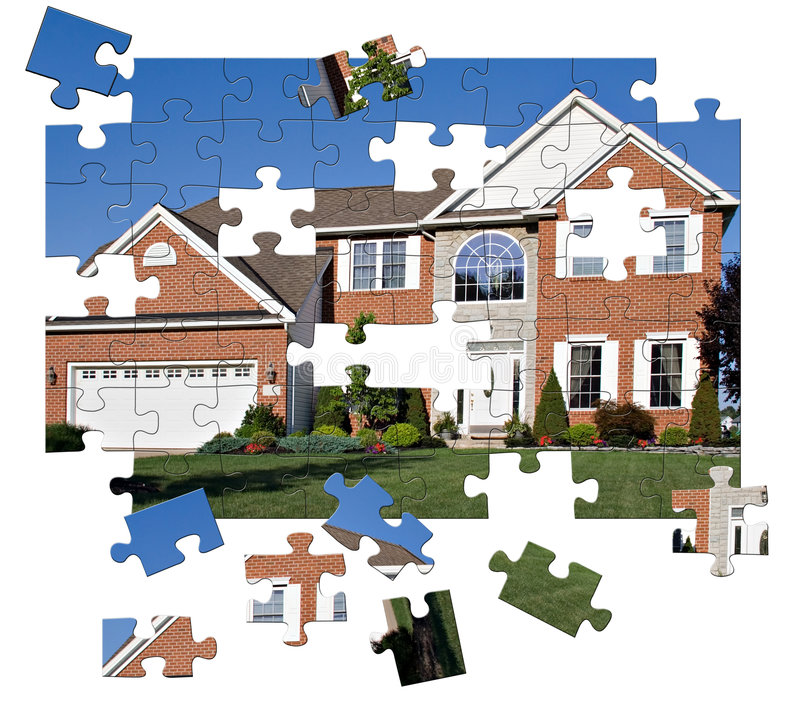 Surburban Home puzzle. Concept - House Puzzle. Brick and stone colonial home in the suburbs