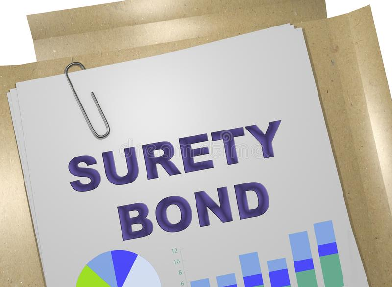 SURETY BOND concept. 3D illustration of SURETY BOND on business document royalty free illustration
