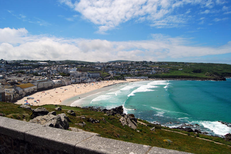 Surf beach at Newquay, Cornwall. Fistral beach, famous for the Boardmasters International surf contest and festival and the host space for a number of big family royalty free stock photos