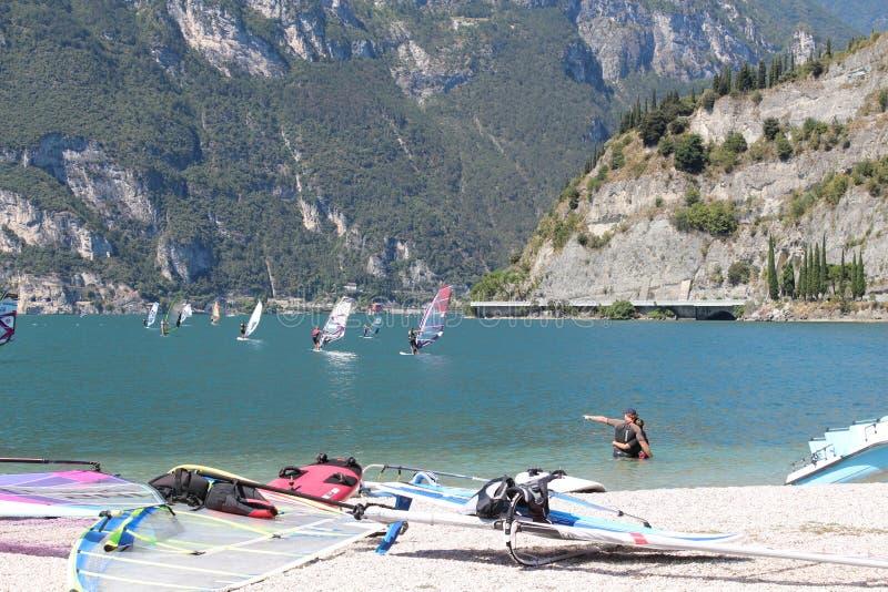 Surf beaches Lago di Garda royalty free stock image