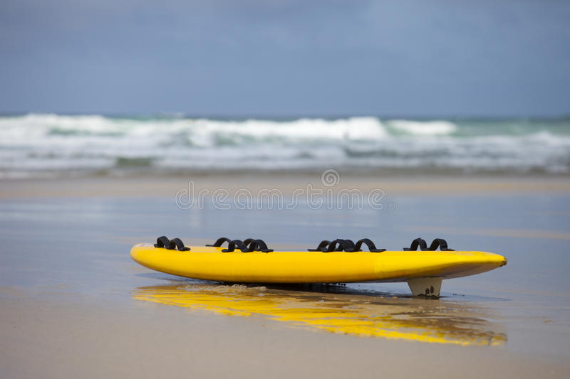 Surf Board At The Beach In Cornwall Stock Photo