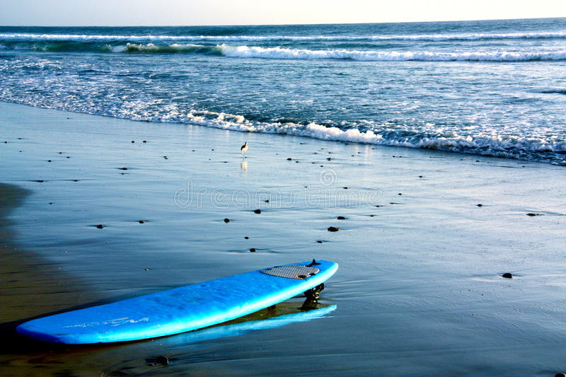 Surf board left alone. At the beach stock image