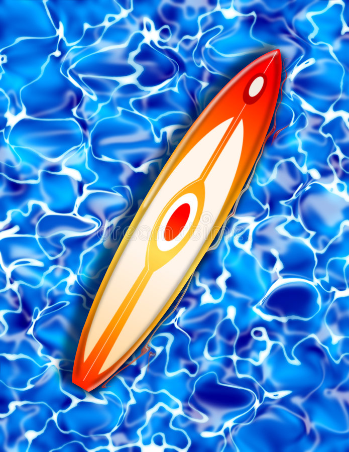 Free Surf Board On Blue Water Illustration Royalty Free Stock Photography - 2512507