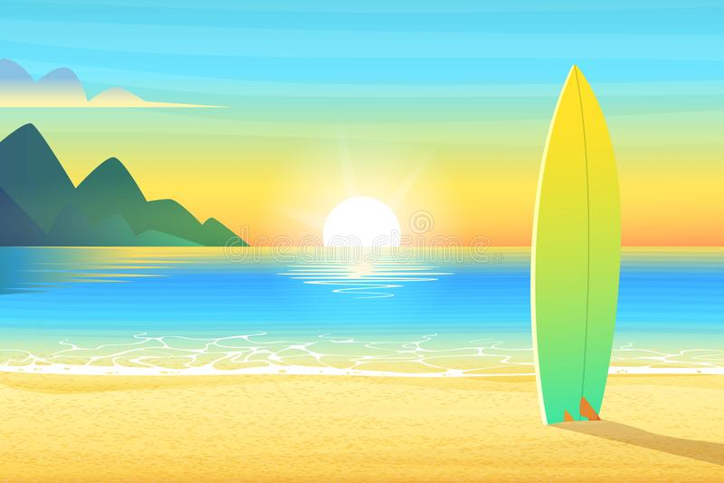 Surf board on a sandy beach. Sunrise or sunset, sand on bay and the mountain wonderful sun shines. Cartoon vector royalty free illustration