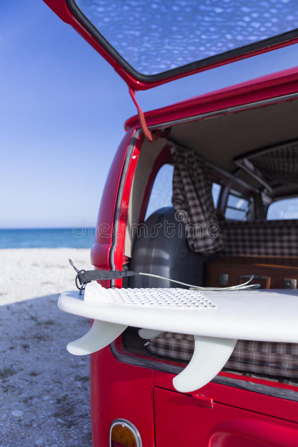 Surf board in a van stock image