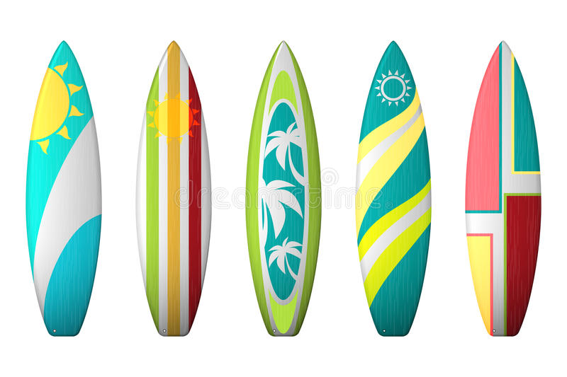 Surf boards designs. Vector surfboard coloring set. Realistic surfboard for extreme swimming, illustration set of surf board with color pattern stock illustration