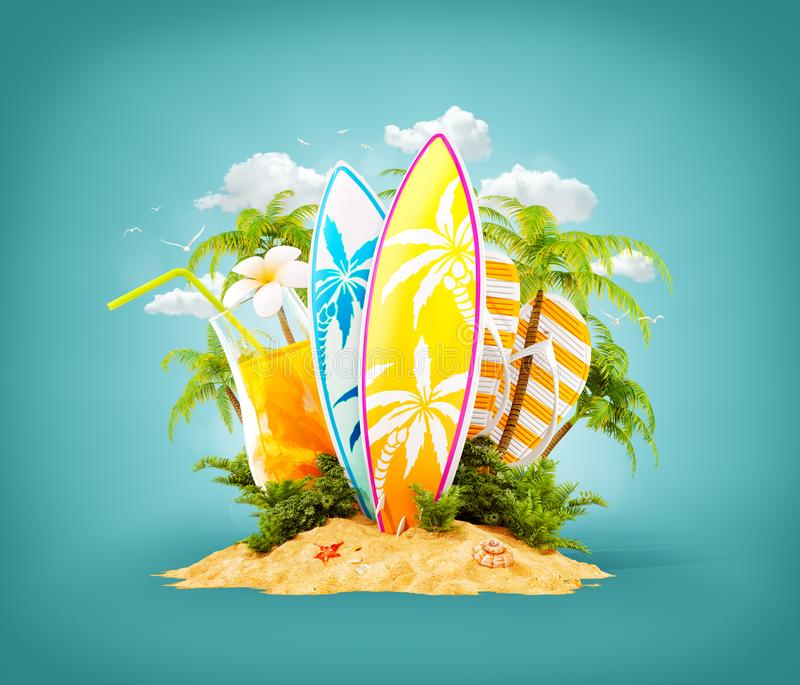 Surf boards on paradise island. With palms. Unusual travel 3d illustration. Summer vacation concept royalty free illustration