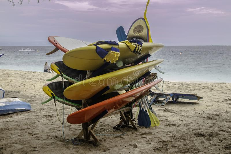 Surf boards for rent in Bali Indonesia stock photo