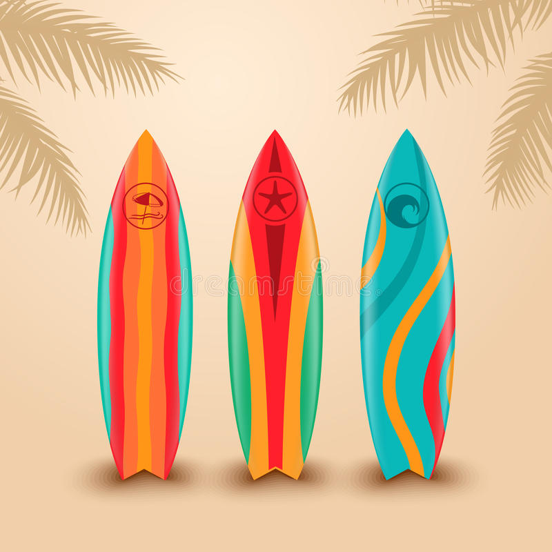 Free Surf Boards With Different Design. Vector Illustration Royalty Free Stock Photos - 72002348