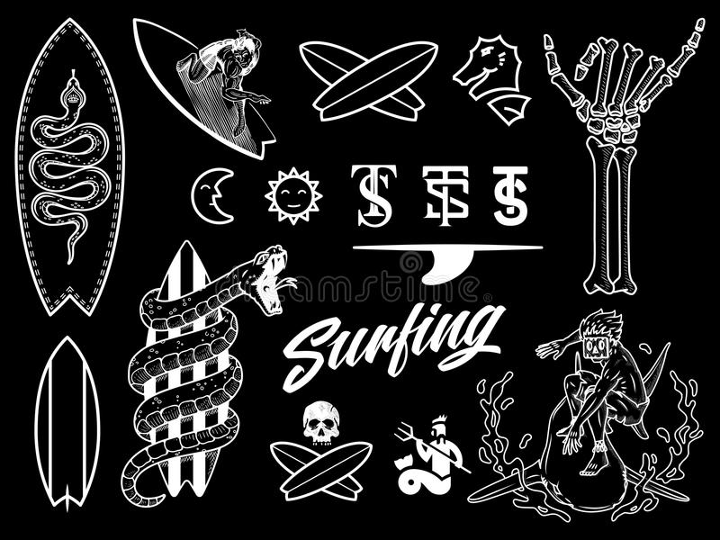 Surf bundle white on black. Is a illustration set containing different designs vector illustration