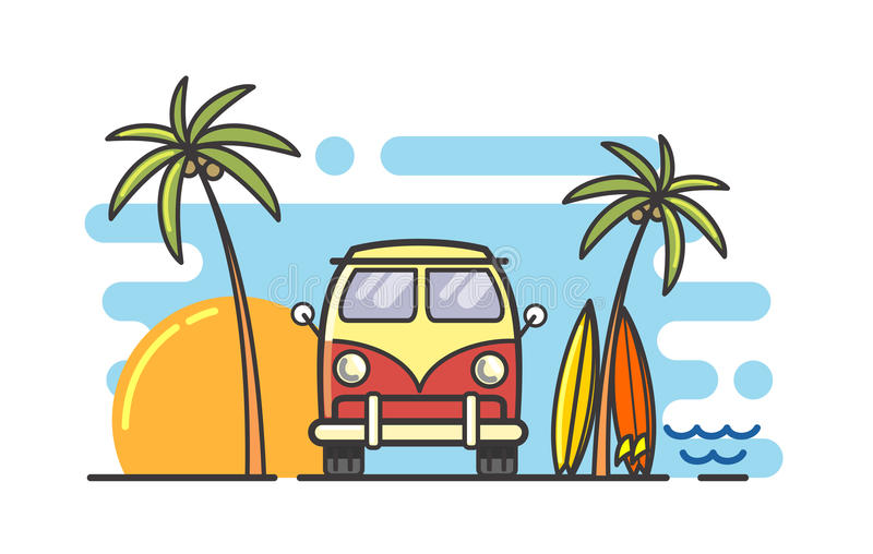 Surf and bus. Vector linear surf and bus flat background stock illustration