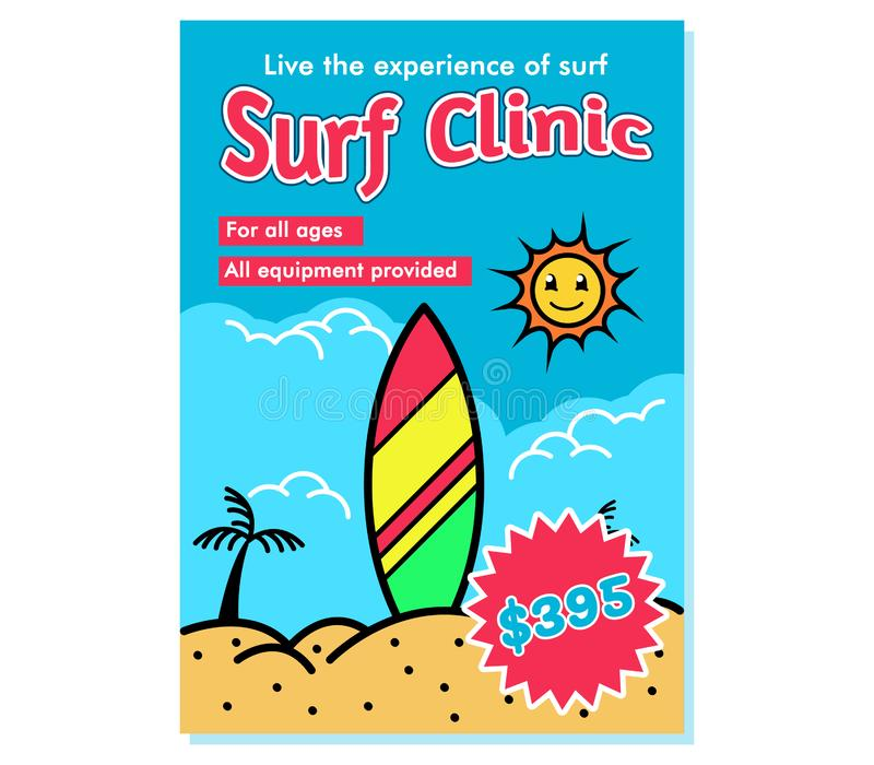 Surf Clinic Recruitment Poster stock illustration