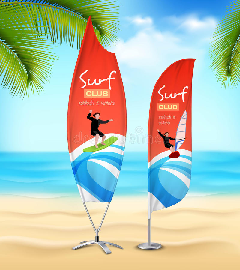 Free Surf Club 2 Advertsement Beach Banners Royalty Free Stock Photography - 88325537