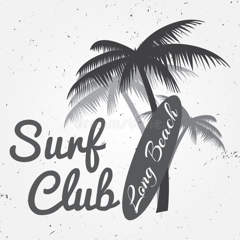 Surf club concept Vector Summer surfing retro badge. Surfer club emblem , outdoors banner, vintage background. Surf board and palm stock illustration