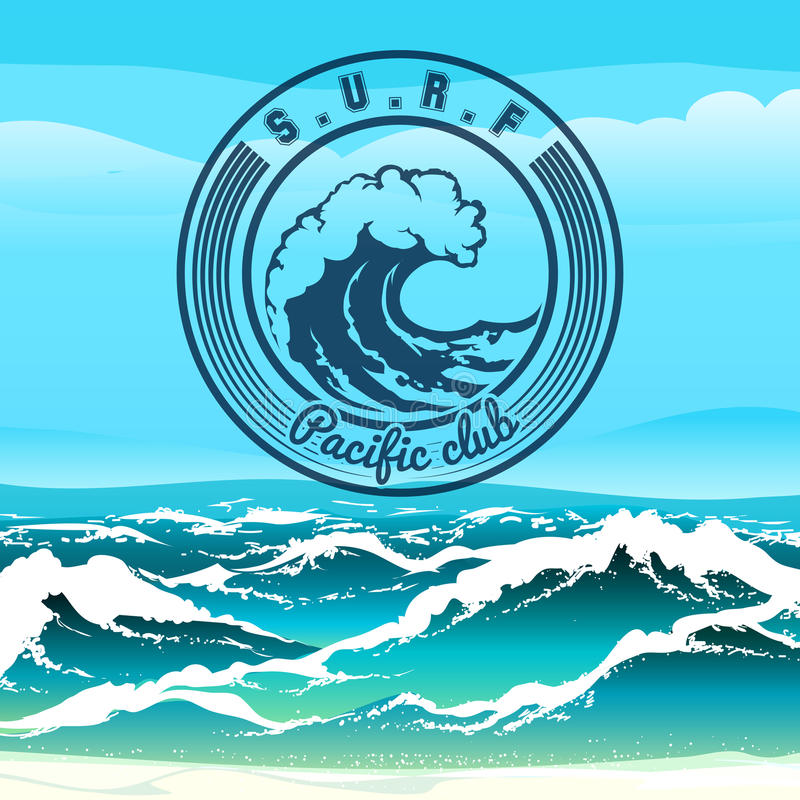 Surf Club. Logo or emblem against stormy tropical seascape. Only free font used royalty free illustration