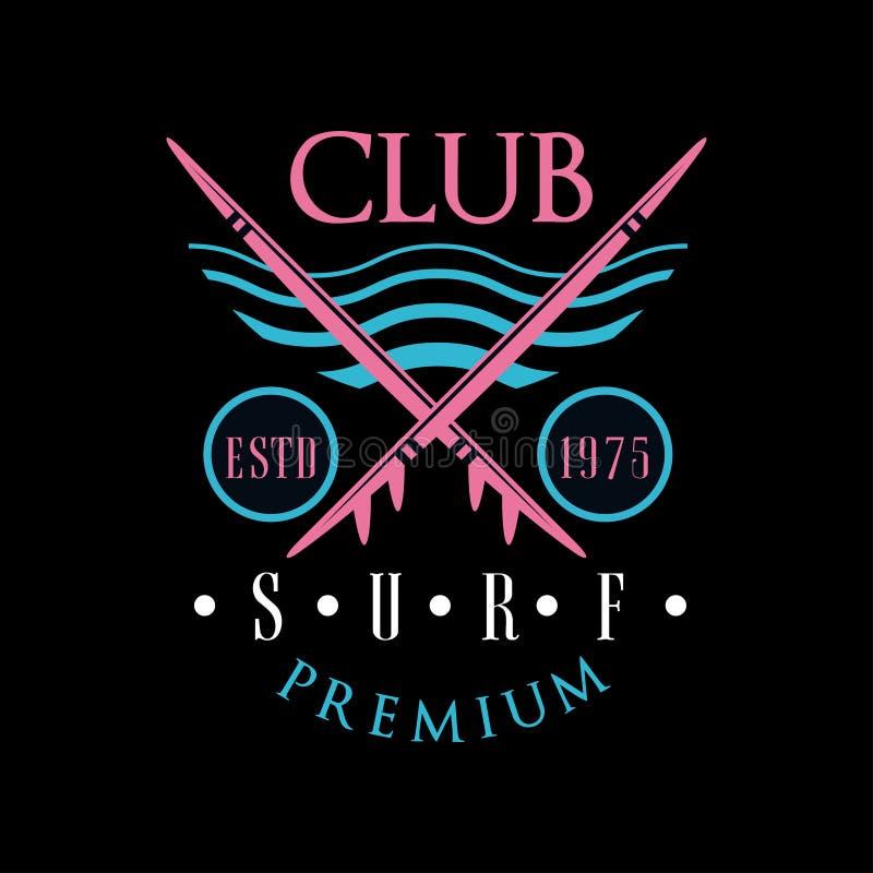 Surf club premium logo estd 1975, design element can be used for surfing club, shop, t shirt print, emblem, badge, label. Flyer, banner, poster vector royalty free illustration