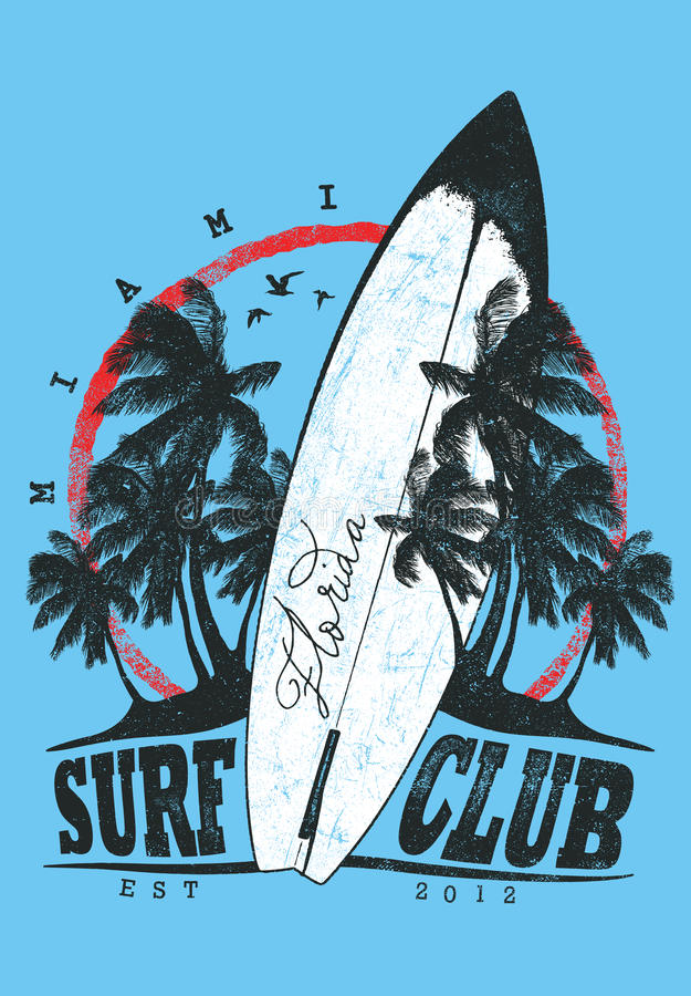 Download Surf Club stock vector. Image of hawaii, poster, floral - 31402618